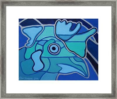 Blue Chicken Abstract Framed Print