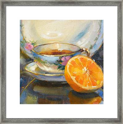 Blue China And Orange Framed Print by Linda Smith