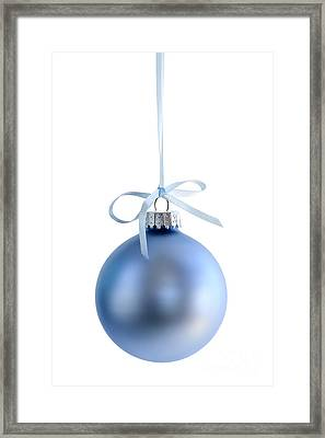 Blue Christmas Bauble Framed Print by Elena Elisseeva
