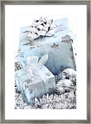 Blue Christmas Gift Boxes Framed Print