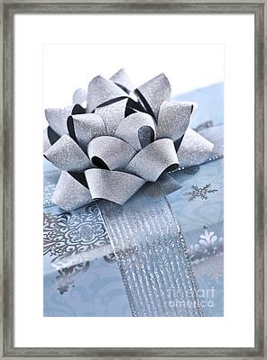 Blue Christmas Gift Framed Print by Elena Elisseeva
