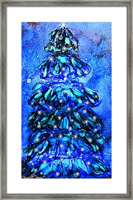 Blue Christmas Tree Alcohol Inks  Framed Print