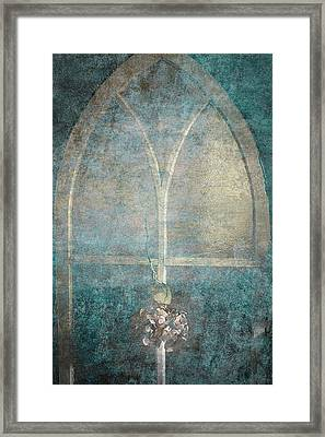 Blue Church Window And Hydrangea Framed Print by Suzanne Powers