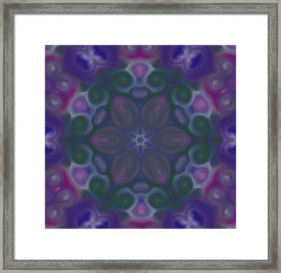 Blue Circle Mandala Framed Print by Karen Buford