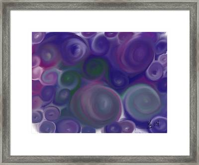 Blue Circles Abstract Framed Print by Karen Buford