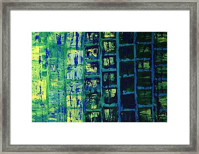 Framed Print featuring the painting Blue City 2 by Linda Bailey