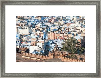 Blue City Seen From Mehrangarh Fort Framed Print by Tom Norring