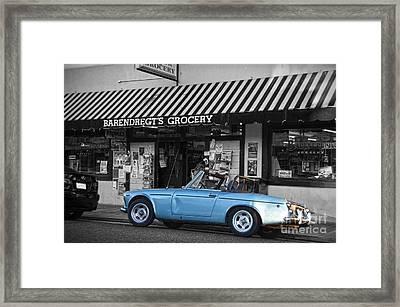 Blue Classic Car In Jamestown Framed Print by RicardMN Photography