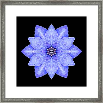 Framed Print featuring the photograph Blue Clematis Flower Mandala by David J Bookbinder