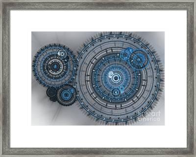 Blue Clockwork Machine Framed Print by Martin Capek