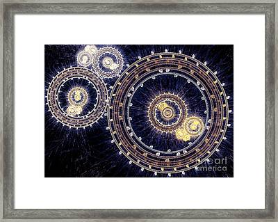 Blue Clockwork Framed Print by Martin Capek