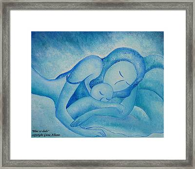 Blue Co Sleeping Framed Print by Gioia Albano