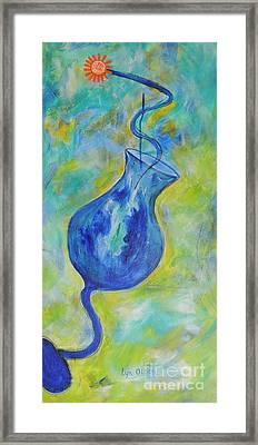 Framed Print featuring the painting Blue Cocktail by Lyn Olsen
