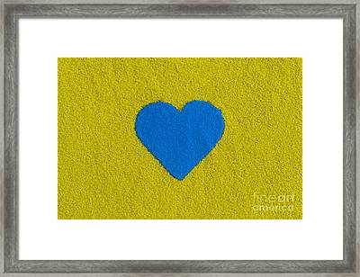 Blue Coloured Heart Framed Print by Tim Gainey