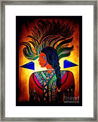 Blue Corn Man Framed Print by Susanne Still