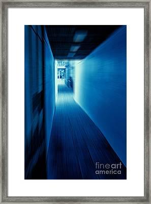 Blue Corridor Framed Print