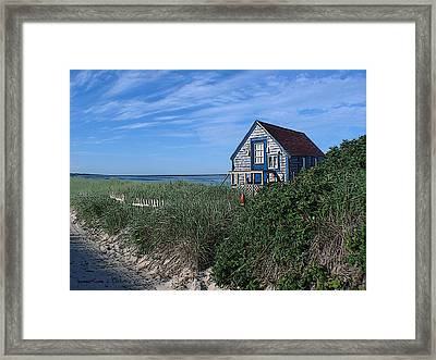 Blue Cottage Cape Cod Framed Print by Samuel H Close