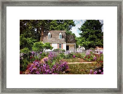 Blue Cottage Framed Print