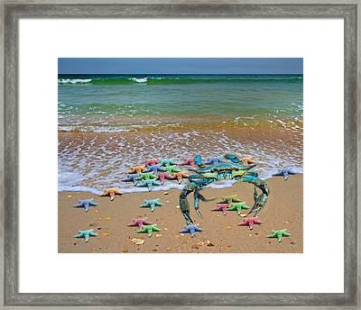 Blue Crab Pastel Paradise Framed Print by Betsy Knapp