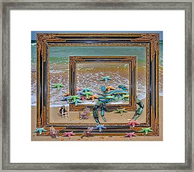 Blue Crab Stars Framed Print