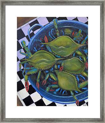 Blue Crabs In Pot Framed Print by Dwain Ray