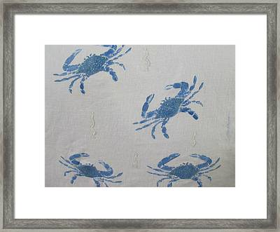 Blue Crabs On Sand Framed Print