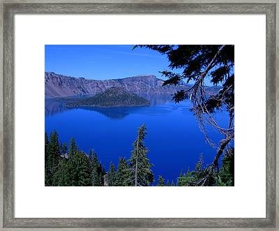 Blue Crater Lake Framed Print by Roberta Hayes