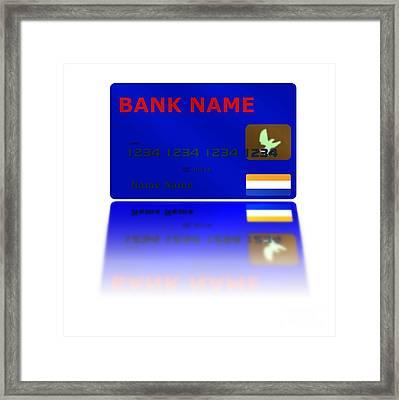 Blue Credit Card Reflection Framed Print