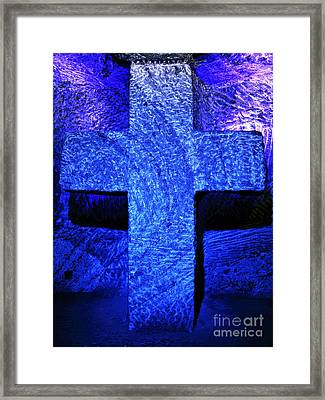 Blue Cross Of Zipaquira Framed Print by John Rizzuto