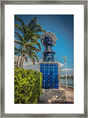 Blue Crown Statue Miami Downtown Framed Print by Ian Monk