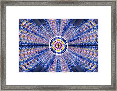 Framed Print featuring the drawing Blue Crystal Consciousness by Derek Gedney