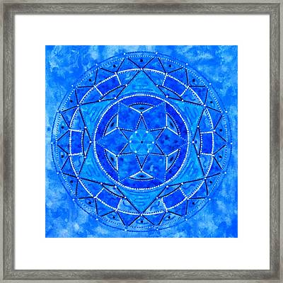 Blue Crystal Mandala Framed Print by Vlatka Kelc
