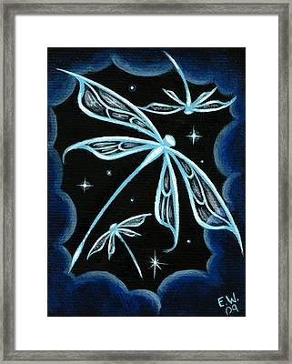 Blue Crystal Winged Dragonflies Framed Print