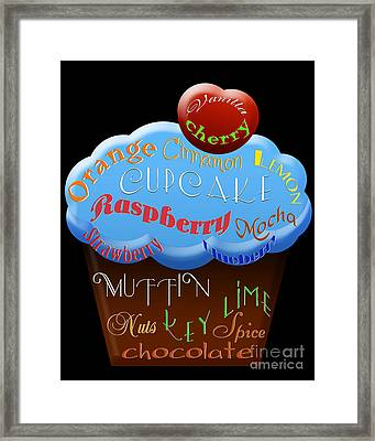 Blue Cupcake Typography Framed Print by Andee Design