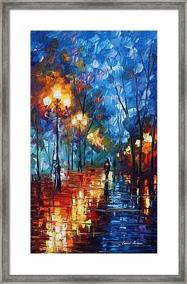 Blue Day - Palette Knife Oil Painting On Canvas By Leonid Afremov Framed Print