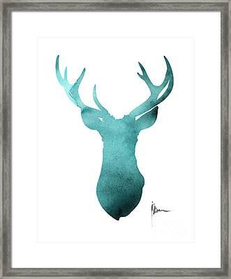 Blue Deer Antlers Watercolor Art Print Painting Framed Print