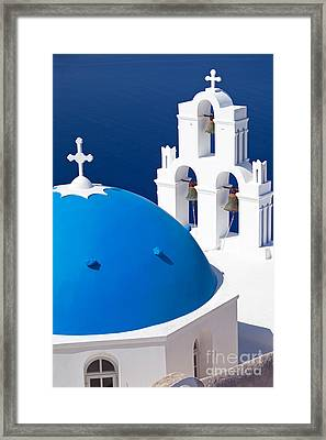 Blue Dome Church Framed Print by Aiolos Greek Collections