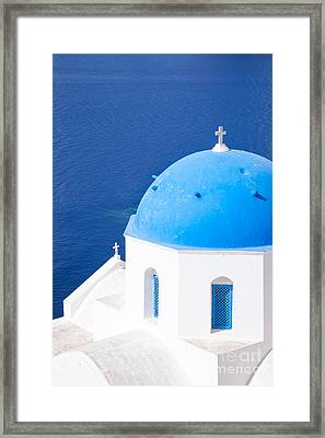 Blue Domed Church In Oia - Santorini - Greece Framed Print by Matteo Colombo