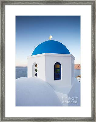 Blue Domed Church In Oia Santorini Greece Framed Print by Matteo Colombo