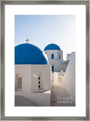 Blue Domed Churches Of Oia - Santorini - Greece Framed Print by Matteo Colombo