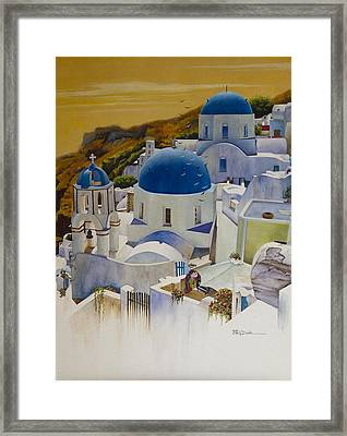 Blue Domes Of Santorini Greek Islands Framed Print