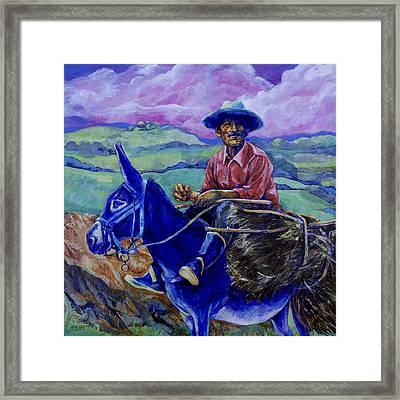 Blue Donkey Framed Print