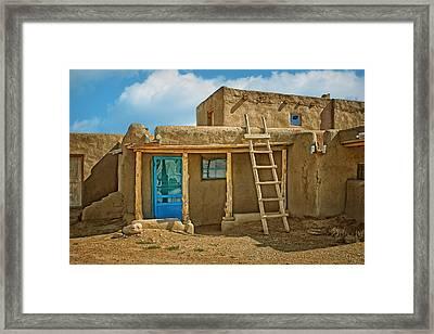 Blue Door And Ladder - Taos Pueblo Framed Print