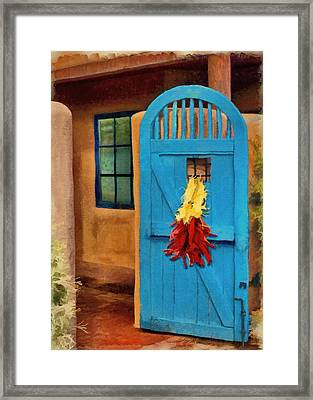 Blue Door And Peppers Framed Print by Jeff Kolker