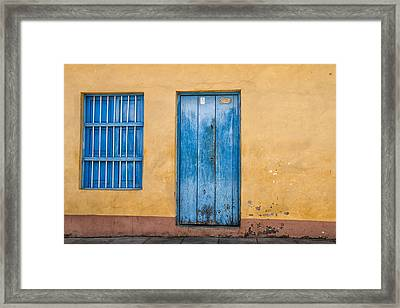 Blue Door And Window Framed Print