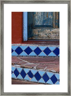 Blue Door Colorful Steps Santa Fe Framed Print by Carol Leigh