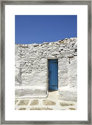 Blue Door Framed Print by Corinne Rhode