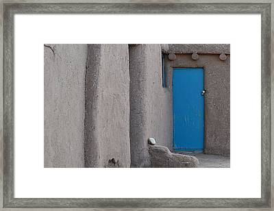Framed Print featuring the photograph Blue Door Gray Walls by Nadalyn Larsen