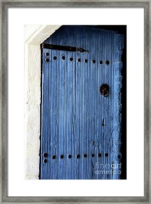 Blue Door In Ayios Neophytos Framed Print by John Rizzuto