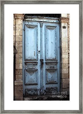 Blue Door In Limassol Framed Print